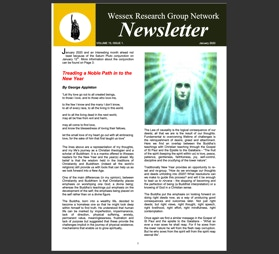 Newsletter with events listing and  articles on Treading a Noble Path into the New Year and Energy Healing