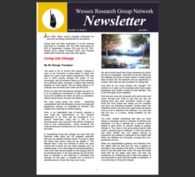 Newsletter with events listing and  article called the Atlantis Line